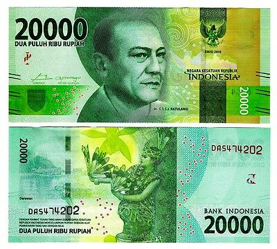2016 Indonesia 20,000 Rupiah Uncirculated One Note