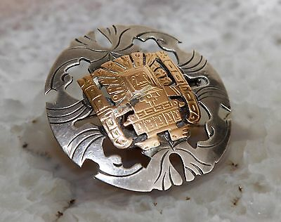 Peruvian 18K Gold & Sterling Pin Brooch...WOW!!!