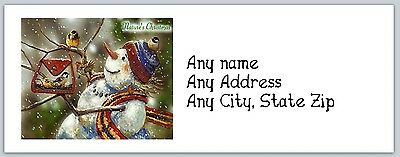 Personalized Return Address Labels Christmas Snowman Buy3 get1 free (ac 267)