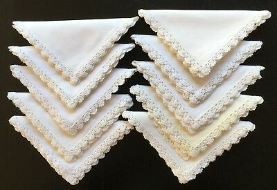 10x White Cotton Table Napkins with Hand Crochet Edging