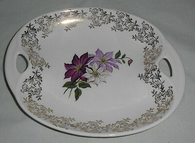 VINTAGE 1960's LORD NELSON POTTERY ENGLAND FLORAL OVAL BOWL