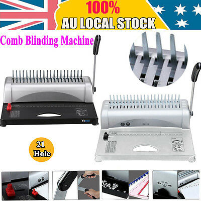 Pro Office Paper Comb Binding Machine Standard 21 Hole Plastic Coil Punch Binder
