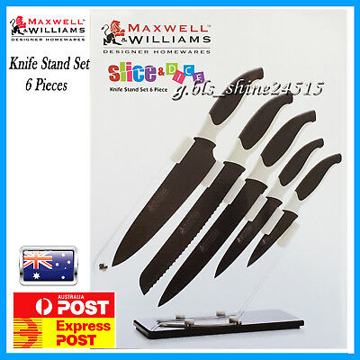 Maxwell Williams 6 piece Black Stainless Steel Kitchen Knife Stand Set Cook Gift