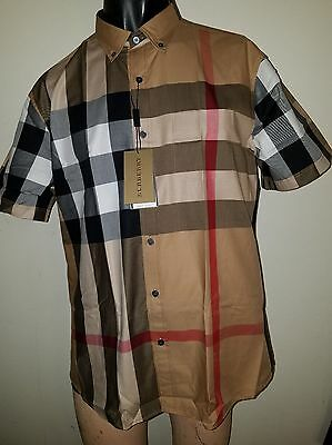 Burberry Brit men's camel fred woven short sleeve button down check shirt s,m,l