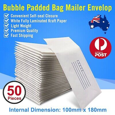 50 pcs 100x180mm Bubble Padded Bag Mailer White Printed Kraft Cushioned Envelope