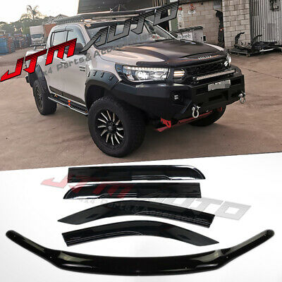 2015-2017 Toyota Hilux Revo Bonnet Protector & Window Visors Weather Shields