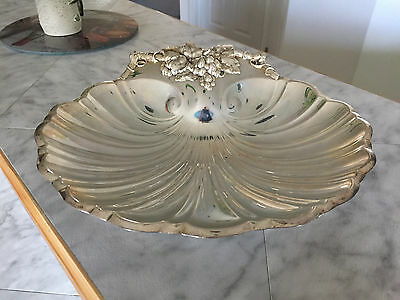 1960's Silverplate REED & BARTON 200 Scallop Shell Grapes Footed Serving Dish