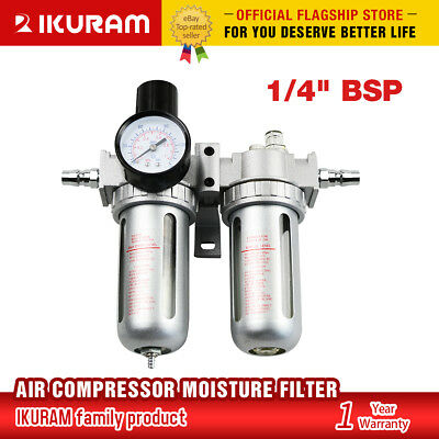X-BULL Air Compressor Moisture Water Oil Lubricator Trap Filter Regulator +Mount