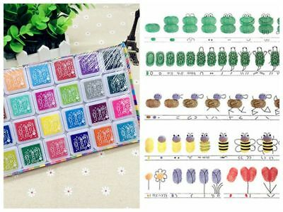 Set of 24 Colours Ink Pad Inkpad for Paper Wood Fabric for Rubber Stamps UK