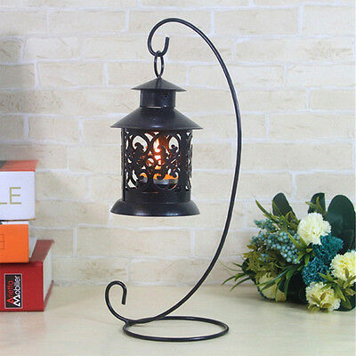 24cm Metal Holder Hanging Candlestick Art Glass Ball Basket Light Lantern Stand