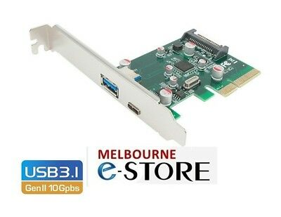 Simplecom EC312 PCI-E x4 to 2 Port USB 3.1 Gen II 10Gpbs Type-C and Type A Card