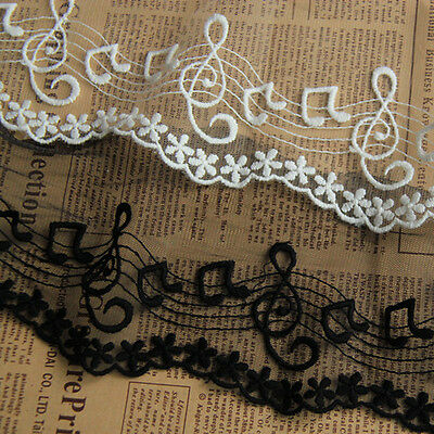 3 Yds Cotton Note Embroidered Mesh Lace Trim Fabric Ribbon Craft  4 Inches Wide