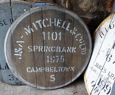 """1976 Springbank Campbeltown Whisky Barrel Cask end Braced ready to hang 24"""" wide"""