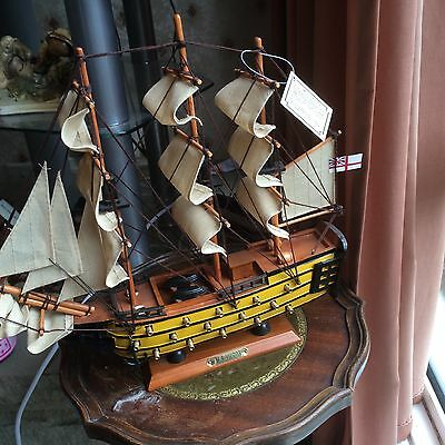 """HMS VICTORY Wooden Model on Base 14"""" x 14"""" Perfect"""