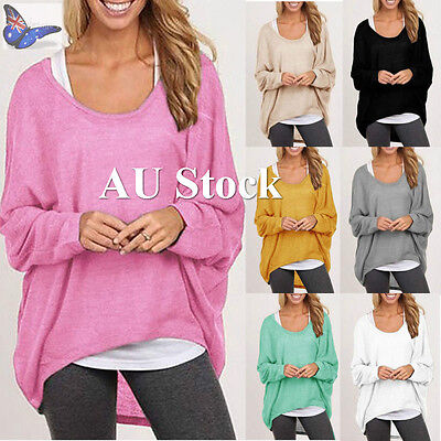 AU Women Ladies Plus Size Loose Casual Blouse Long Sleeve Pullover Top Tee