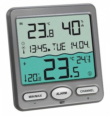 VENICE Funk-SCHWIMMBADTHERMOMETER Teich,- Aquarium POOLTHERMOMETER Funkuhr