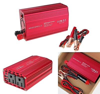Car Adapter 300W Power Inverter DC 12V to 110V AC Converter 3.1 Dual USB Charger