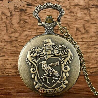 Harry Potter School Crest Ravenclaw Bronze Tone Pocket Watch Necklace FREE GIFT