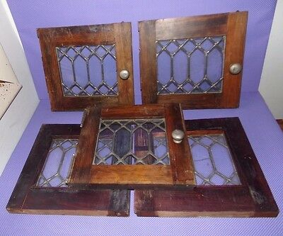 Vtg Antique Set 5 Leaded Glass Wood Cabinet Doors Art Deco Nouveau Diamond