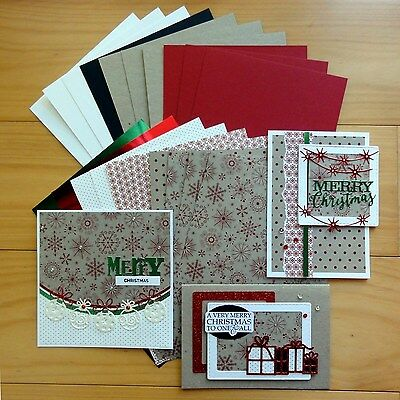 """snow Kraft"" Red & White Christmas Card & Paper Pack Diy Cardmaking 20 Shts A5"