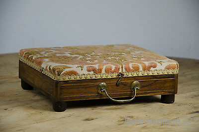 Antique French Napoleon III tapestry Couture Sewing Box foot stool 19th c Shabby