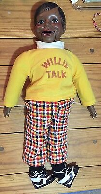 """African American Ventriloquist Doll Willie Talk 1970s Black 24"""" Tall Vintage Toy"""