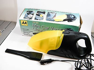 AA 12V DC MINI CAR VACUUM CLEANER HOOVER BOXED + 1x ATTACHMENT YELLOW