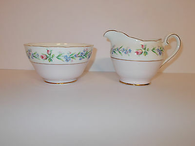 Adderley Fine Bone China Sugar Bowl and Milk Cream Jug Pink and Floral Lovely