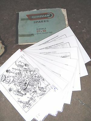 SUNBEAM 500cc S7 & S8 SPARES MANUAL + LAMINATED SHEETS  (EVERY THING LISTED)