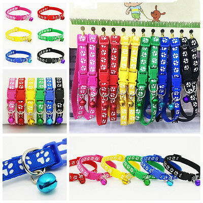 6/12 PCS Dog Collars Pet Cat Collar With Bell Necklace Buckle Wholesale