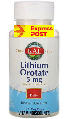 Lithium Orotate 5 mg 60 Veggie Caps 2 bottle 120 Caps  GREAT VALUE