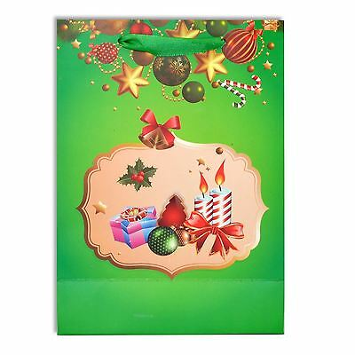 1 x Small Luxurious Christmas Gift Bag Green-Decorative Glitter Paper Bag