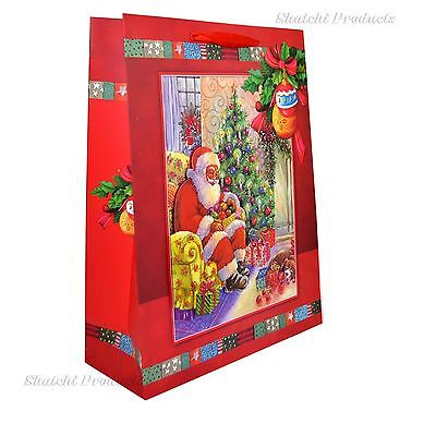 1 x Small Red Luxury Christmas Gift Bag -3D Decorative Glitter Paper Bag