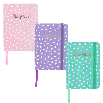 A6 Journal Girls Polka Dotted Notebook Hardback Book Cover Diary Planner Gift