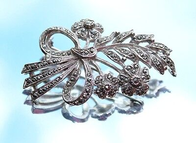 Vintage Sparkly Marcasite & Silver Coloured Flowers Bunch Brooch (c1960s)
