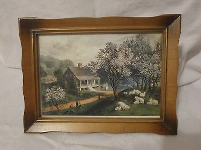 "Framed Picture ""Country Scene""  Vintage Wood Frame Glass Front (6"" X 8"") • $2.99"