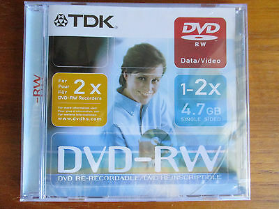 TDK DVD-RW speed 2x for older recorders which do not accept higher speed discs.