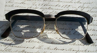 Retro pair vintage French Spectacles Black brass frames retro Glasses In case