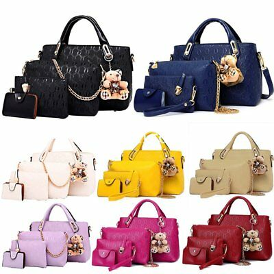 Womens Ladies 4Pcs Leather Shopper Clutch Hobo Shoulder Bag Handbag Purse Tote