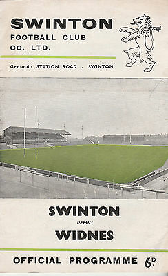 RUGBY PROGRAMME SWINTON v WIDNES - 11TH OCTOBER, 1969