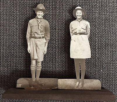 Boy Scout and Girl Guide Cut-Out / Standee c1930