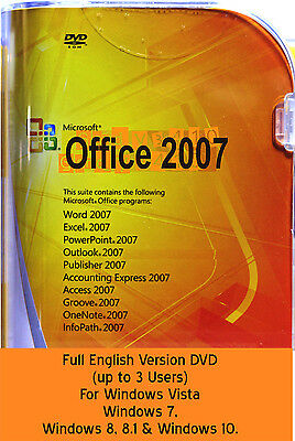 MICROSOFT OFFICE 2007 Full version 3 PCs (Word,Excel, Powerpoint, Publisher etc)