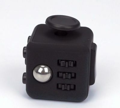 Fidget Cube Black Stress Anxiety Relief Focus Gift Adults Kids Attention Therapy