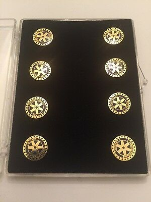 Rotary Club Suit Coat Buttons New Old Stock Lot Of 8 Unused Clothing Accessory