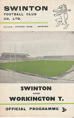 RUGBY PROGRAMME SWINTON v WORKINGTON T. - EASTER MONDAY 3RD APRIL, 1972