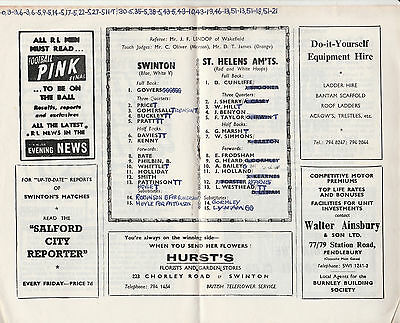RUGBY PROGRAMME SWINTON v ST. HELENS AMATEURS - 29TH AUGUST, 1970