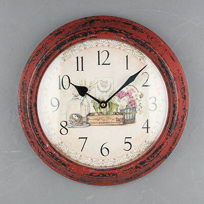 Shabby Chic French Country Style Floral Wall Clock by Dibor