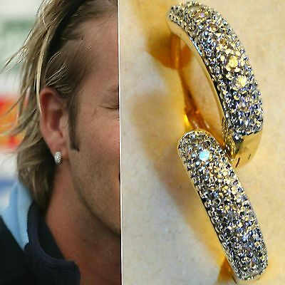 Mens18k yellow gold filled simulated diamonds pave hoop earrings, NEW DESIGN /UK
