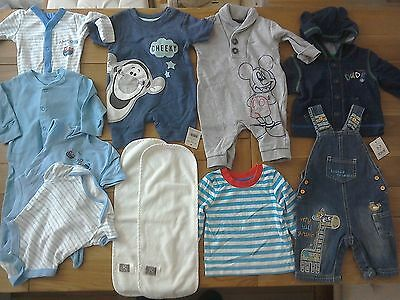 Baby Boys Clothes Bundle 0-3 Months, F&F, George, Playsuits, Babygrows, Top, VGC