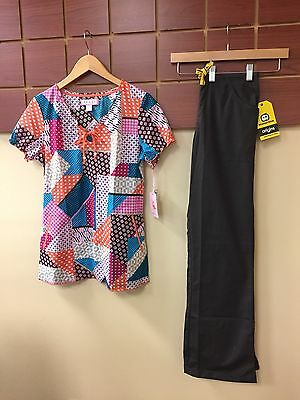 NEW Brown Print Scrubs Set With Koi XS Top & Wink XS Tall Pants NWT